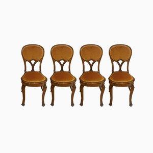 Jugendstil Liberty Stühle aus Nussholz, 4er Set