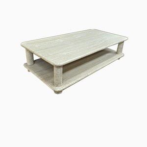 Round Travertine Coffee Table with 2 Trays
