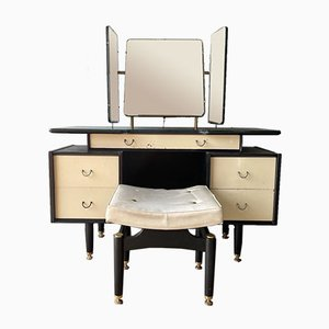 Black & White Dressing Table with Mirrors & Stool from G Plan, 1950s, Set of 2