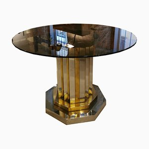 Vintage Round Brass Dining Table by Willy Rizzo, 1970s