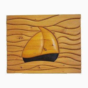 Pannello vintage in legno di pino intagliato