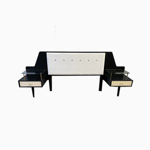 Black & White Double Bed Headboard with Bedside Tables from G-Plan, 1950s