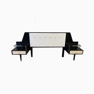 Tête de Lit Double et Noire avec Tables de Chevet de G-Plan, 1950s