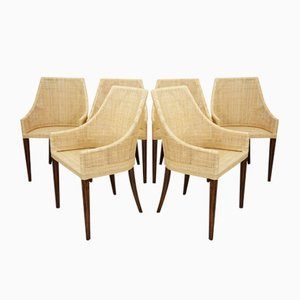 French Rattan & Wood Dining Chairs, Set of 6