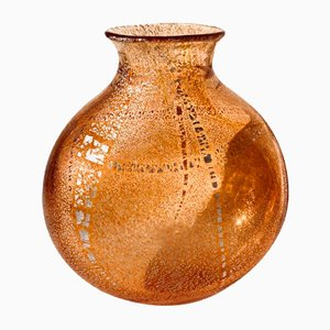 Grand Vase Vintage en Verre Murano Orange avec Feuille d'Argent, Italie, 2004