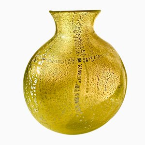 Grand Vase Vintage en Verre Murano Jaune avec Feuille d'Argent, Italie, 2004