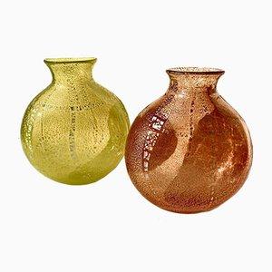 Große Italienische Vintage Murano Glasvasen in Gelb & Orange mit Silberblatt, 2004, 2er Set