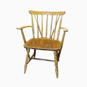 Vintage Wooden Windsor Chair with Armrests