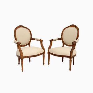 Antike Französische Sessel aus Nussholz, 2er Set