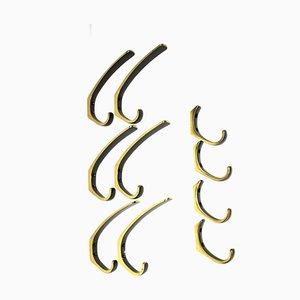 Messinghaken im Stil von Carl Auböck, 1950er, 10er Set