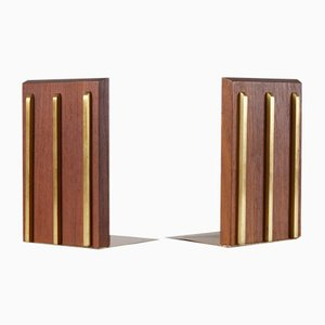 Mid-Century Teak & Brass Bookends, 1950s, Set of 2