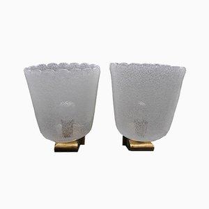 Mid-Century Messing & Murano Glas Wandlampen von Barovier & Toso, 2er Set