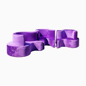 Canapé Purple Cloverleaf par Verner Panton pour Verpan, Set de 3