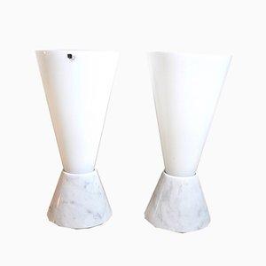 Lámparas italianas Mid-Century de vidrio con base de mármol, años 70. Juego de 2