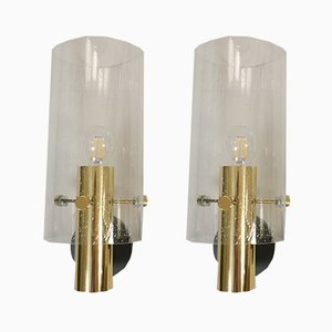 Brass and Glass Wall Lamps from Limburg, 1970s, Set of 2