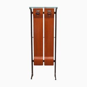 Mid-Century Garderobe aus Holz & Glas mit 2 Haken von Gianfranco Frattini