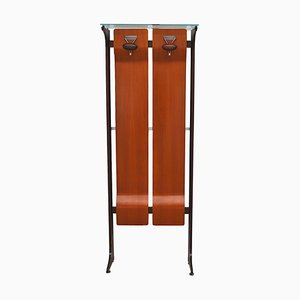 Mid-Century Wood & Glass Coat Stand with 2 Hooks by Gianfranco Frattini