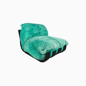 Alcantara Green Armchair by Luciano Frigerio, 1970s