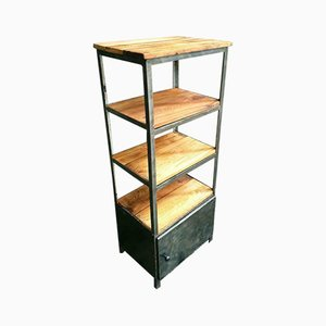Industrial Steel & Wood Bathroom Shelving Unit