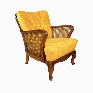 German Art Deco Yellow-Gold Velvet Chameleon Armchair, 1960s