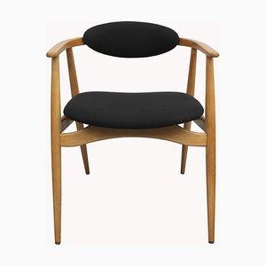 Schwarzer Armlehnstuhl aus Buchenholz, 1960er