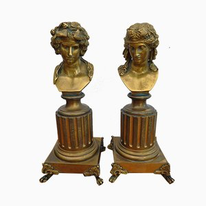 French Gilt Bronze Grand Tour Busts of Bacchus & Ariadne Attributed to Georges Servant, 19th Century