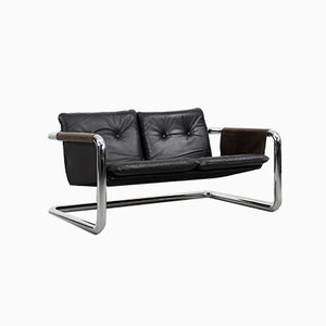 Vintage Bauhaus Tubular Metal & Leather Sofa, 1950s