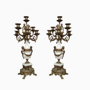 Weiße Marmor Terrassen Kerzenständer, 2er Set