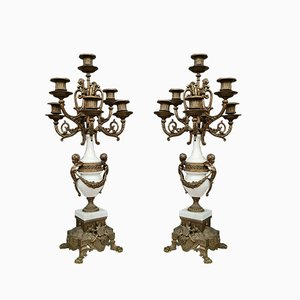 White Marble Terrace Candlesticks, Set of 2