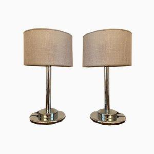 Lámparas de metal cromado, años 70. Juego de 2