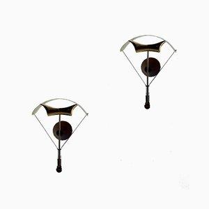 Glasschirmschirme aus Messing und Holz, 1970er, 2er Set