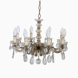 Antique Bronze and Crystal Chandelier, 1880s