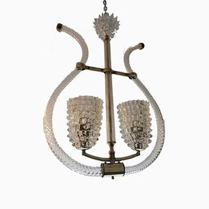 Glass and Beaked Torchon Chandelier with Two Lights in the Form of Classical Harp by Ercole Barovier, 1920s