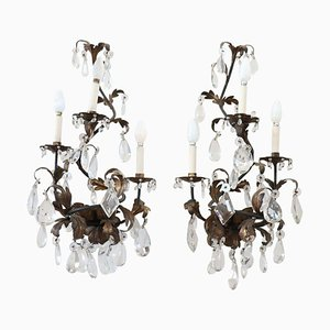 Antique Wrought Iron & Crystal Drop Sconces, Set of 2
