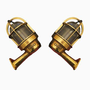 Mid-Century Nautical Brass and Glass Wall Lights, Set of 2