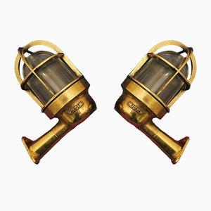 Nautische Mid-Century Wandlampen aus Messing & Glas, 2er Set