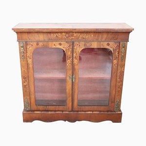 Antique Inlaid Walnut & Golden Bronze Display Cabinet, 1880s