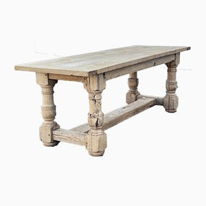 Large French Bleached Oak Farmhouse Dining Table