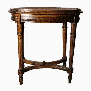 Sgabello vintage in stile Luigi XVI in legno con seduta in paglia di Vienna