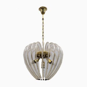 Venini Chandelier in Murano Glass and Brass by Paolo Venini for Venini, Italy, 1950s