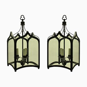 English Gothic-Style Painted Wrought Iron Ceiling Lamps, 1960s, Set of 2