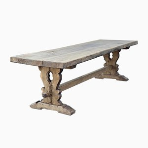 Long French Bleached Oak Farmhouse or Refectory Table