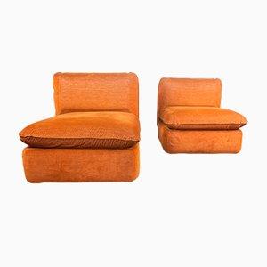 Orangefarbene Stoffstühle, 1970er, 2er Set