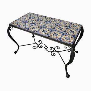 Wrought Iron & Faience Tile Coffee Table, 1960s