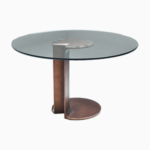 Mesa de comedor Tl59 de bronce de Tobia & Afra Scarpa, años 70