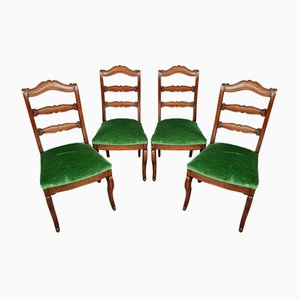Genoa Chairs in Empire Mahogany with Velvet Seating, Set of 4