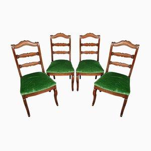 Genua Sessel Empire Mahagoni mit Sitzen aus Samt, 4er Set
