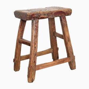 Sgabello rustico in olmo con seduta in radica di legno, inizio XIX secolo