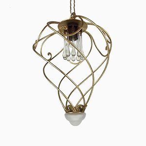 Iron Lantern in Golden and Crystal Banci