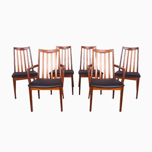 Teak and Leather Dining Chairs by Leslie Dandy for G-Plan, 1960s, Set of 6